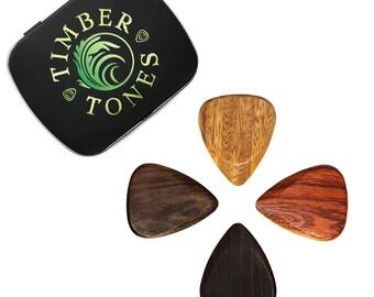 Electric Guitar - Tin of Four Guitar Picks - Lignum Vitae, African Ebony, Bloodwood & Indian Chestnut - 351 shape - Timber Tones