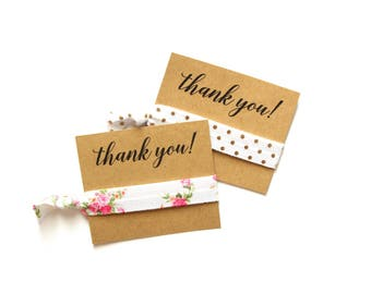 Thank You Personalized Hair Tie Favor | Custom Thank You Favor | Floral Hair Tie Favor | Gold Dot Hair Tie Favor | Thank You Gift
