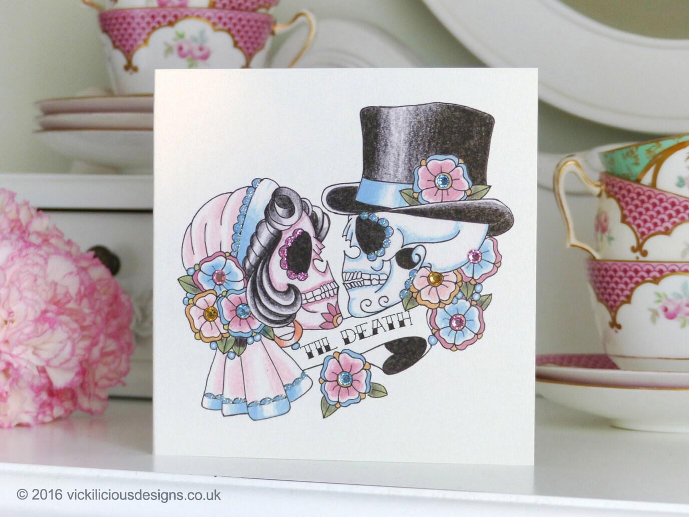 Til Death sugar skull bride & groom tattoo day of the dead