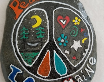 Hand Painted Rock Rock Art Peace Love Maine