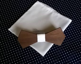 JUST MARRIED or almost Duo Pocket square in white taffeta with his bow tie made from walnut. Free shipping. Wedding