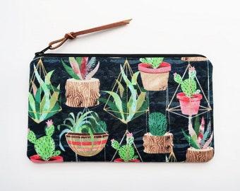 Cactus print pencil case - succulent cactus pouch - dark blue zipper purse - cute gifts for friends - cacti pencil pouch - women gift ideas