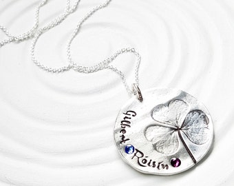 Birthstone Mother's Necklace - Shamrock Necklace - Long Chain Option - Gift for Her - Lucky Jewelry - Irish Necklace - Irish Mom's Gift