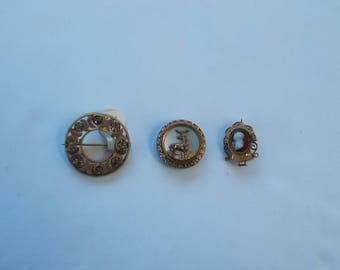 Trio of Antique Gold Filled Brooches.  (442)
