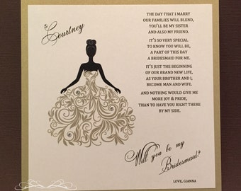 Will You Be My Bridesmaid Card / Matron of Honor Maid of Honor Flower Girl Personalized Cards Invite Bridesmaid Proposal {Dress 2 Gold}