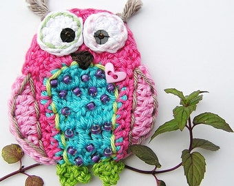 Crochet owl applique - pattern, DIY