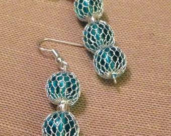 Wrapped Blue Drop Earrings