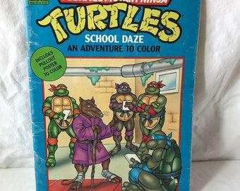 1990 Teenage Mutant Ninja Turtles School Daze Coloring Book