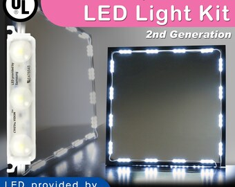 Crystal Vision Make up Mirror LED Light Kit Provided by Samsung for Vanity Mirror LED UL Power Supply w/ Dimmer Controller (12.5ft)