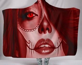 Calavera (Day Of The Dead / Dia De Los Muertos) Halloween Skull Design #3 Hooded Sherpa Blanket (Red Garnet)