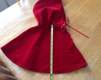 lovely flocked red velvet toddler little red riding hood cape