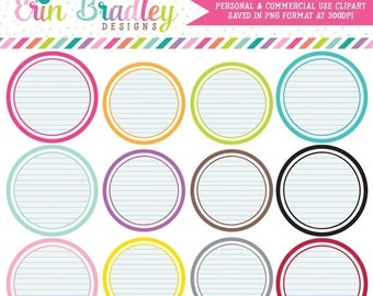 80% OFF SALE Notepaper Circles Clipart Clip Art Personal & Commercial Use Digital Scrapbooking