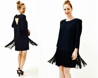 Vintage Black Flapper Fringe Dress Size Large// Vintage 80s does 20s Black Fringe Party Dress Size Large XL by Chetta B