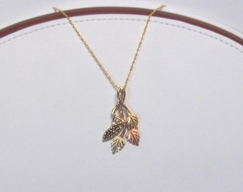 Whitaker's Black Hills Gold Grapes & 3 Leaves Slide Pendant