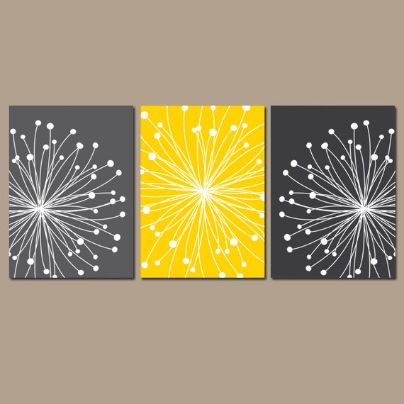 DANDELION WALL ART Yellow Gray Wall Art Dandelion Canvas or