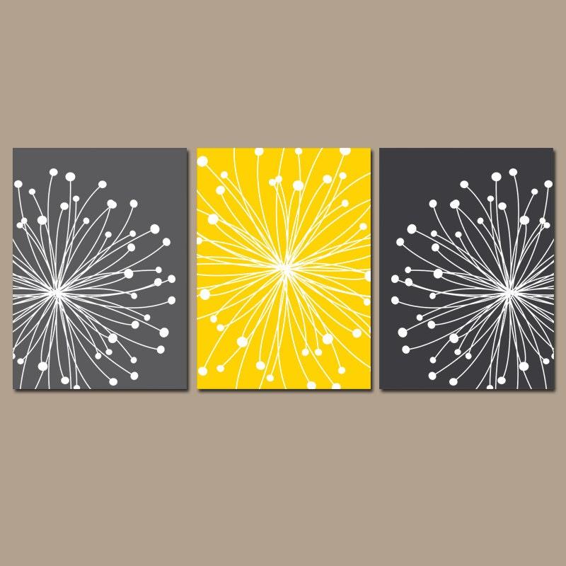 DANDELION WALL ART Yellow Gray Wall Art Dandelion Canvas or