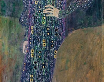 handpainted Portrait of Emilie Flöge - Gustav Klimt Oil Painting Reproduction for home decor wall art or gift