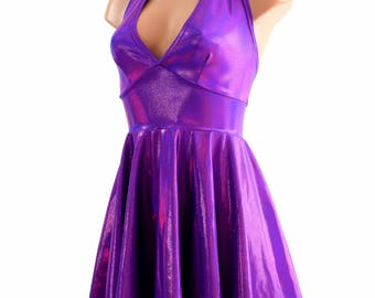 Grape Purple Holographic Halter Tie Back Fit and Flare Skater Dress - 154398