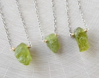 Raw Peridot Necklace, Oxidized Sterling Silver Gold, August Birthstone, Rough Olive Green Peridot Jewelry  Rustic Gemstone Boho Necklace