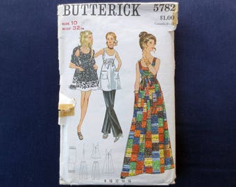 1970s Scoop Neck Maxi Dress, Pants & Stole Vintage Pattern, Butterick 5782, Size 10, Bust 32 1/2