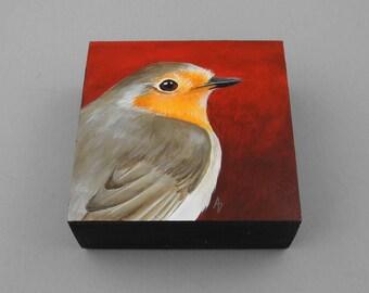 English Robin painting - european robin songbird original painting - birdwatcher gift - birdwatching - wildlife art block - robin art