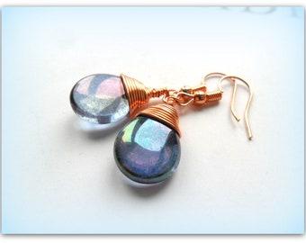 Teardrop Mystical Indigo Amethyst Lustre Vintage Earrings Czech Crystal Earrings Copper Wire Wrap Earrings Etsy UK Bridesmaid Earrings