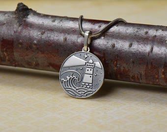 Lighthouse necklace lighthouse jewelry lighthouse pendant  sea necklace sea pendant seamark necklace seamark pendant beacon pendant travel