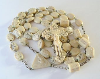 Sculpted Cesar Civelli Rosary Ivorine Vintage Catholic Rosary 1950 Holy Year Jubilee from TreasuresOfGrace