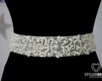 Luxury 5cm/2 in Pearl Crystal Lace Bridal Belt, Lace Wedding Belt, Bridal Sash, Bridal Accessories, Lace Bridal Belt, Lace Wedding Belt F103