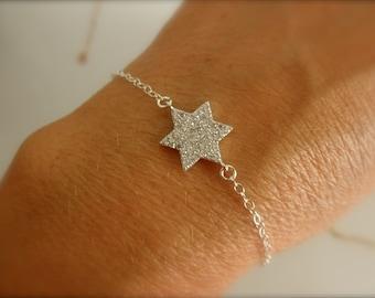 CZ pave Star of David charm bracelet -sterling silver-