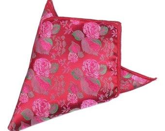 Rose Floral Pocket Square | floral handkerchief | red floral pocket square | mens handkerchief| wedding ideas | rose pocket square