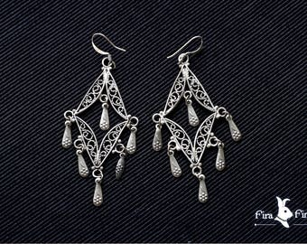 Vintage Israel 925 Silver Filigree Hook Earrings