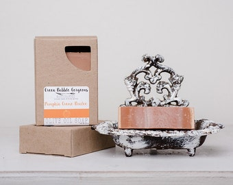 Olive Oil Soap, Pumpkin Creme Brulee 5 oz., made with organic oil by Green Bubble Gorgeous