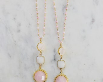 Spring Rosary Sun Necklace, pink opal, rose quartz, rosary necklace, sun necklace, moonstone