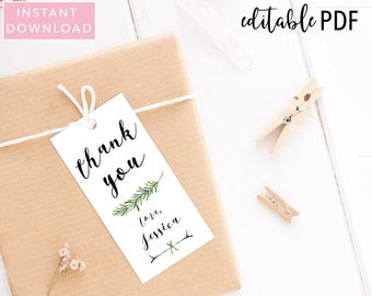 Greenery Baby Shower Favor Tags, Thank You Favor Tags, Favor Tags, Baby Shower Favor, Baby Shower Tags, Gift Tags, Shower Tag, Printable