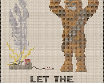"Chewbacca ""Let The Wookiee Win"" Star Wars Cross Stitch Pattern"
