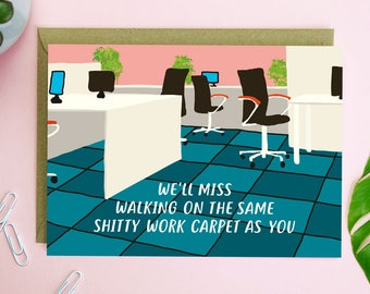 Shitty Carpet Leaving Card - funny leaving card - illustrated card - sorry you're leaving card - paper plane card