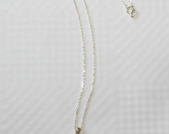 Vintage 925 Silver Italy Cubic Zirconia Round Pendant Dainty Necklace