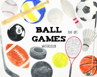 Watercolor Sports Clipart Sports Clip Art Sports, Baseball Clipart, Watercolor Sports Balls Download, Digital Download, Digital Scrapbooking