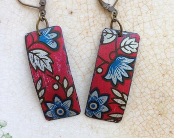 "Tin Jewelry Earrings ""Weathered Red"" #1 Tin for the Ten Year Tenth Wedding Anniversary"