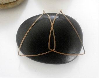 Rose Gold Triangle Hoops Pink Gold Geometric Hoops Hammered Triangle Earrings Wire Jewelry Shape Earrings Tribal Jewelry
