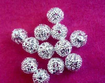 set of 100 filigree beads 6 mm bright silver