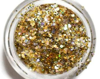 Holo Gold Sparkle Mix, SOLVENT RESISTANT, Glitter Mix, Holographic Glitter, Gold, Raw Glitter Mix, Nail Polish, Nail Art, Gold Glitter Mix