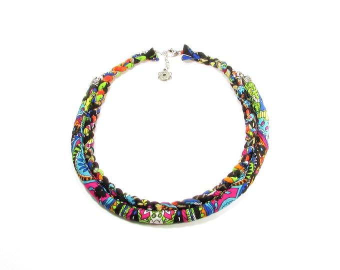 Collier multicolore / Bijoux textile / recyclé / accessoires mode / LapareBijoux