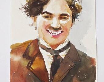 Charlie Chaplin  Original   Portrait  Watercolor  Painting