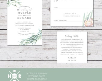 Printable - The 'Myrtle & Edward' Australian Eucalyptus Wedding Suite | Invitation | RSVP | Registry Card | Watercolour | Rustic