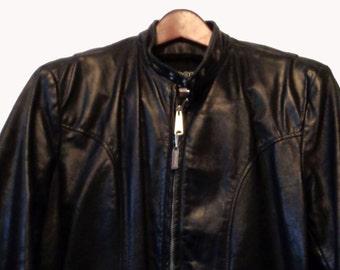 BROOKS Black Leather Cafe Racer Jacket Men's Size 42, Motorcycle Racing Jacket