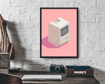 Apple Macintosh Classic Isometric Computer Poster Art Print