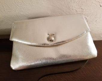 Vintage 1950's - 1960's Miss Lewis Silver Evening Bag / Clutch