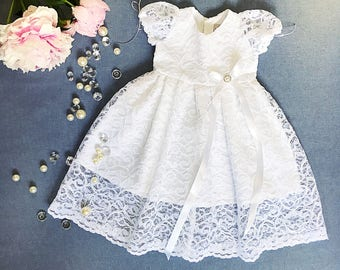 Adorable baptismal dress, organic cotton christening dress, christening gown, lace baby girl's baptism gown, white church dress, lace dress